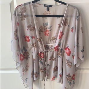 Sheer tie up blouse